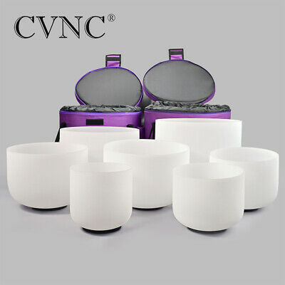 """7pcs 6""""-12"""" Chakra Tuned Set of Frosted Quartz Crystal Singing Bowl+Two 12"""" Bags"""