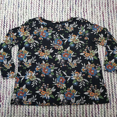 Ladies TU Casual Blouse Top Size 18 Black Floral Stretch Long Sleeve Modal