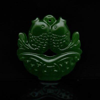 Chinese Antique Collection Old green jade Hand-carved Two fish Model Pendant