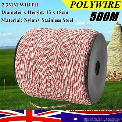 Polywire Roll Electric Fence Energiser Stainless Steel Poly Rope Insulator AU