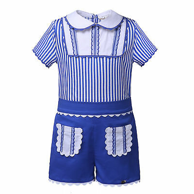 Blue Boys Gentleman Outfits Stripes Shirt Top Shorts Formal Party Suits 8 Years