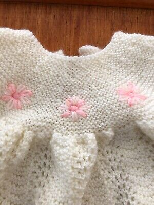 Hand made knitted Christening gown +jacket + bonnet + bootees