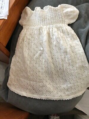 Handmade knitted long christening gown and bonnet i soft 4 ply baby yarn