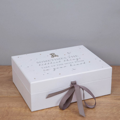 Bambino White Baby Keepsake Box with Teddy Baby Gift #CG1574