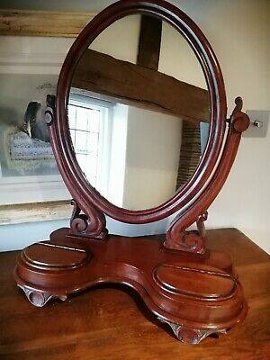 Antique Victorian mahogany large tilting carved dressing table oval mirror