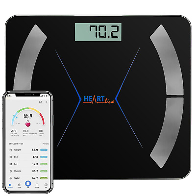 Heartline Bathroom Weighing Scales Smart Bluetooth Android Apple Black Body Fat