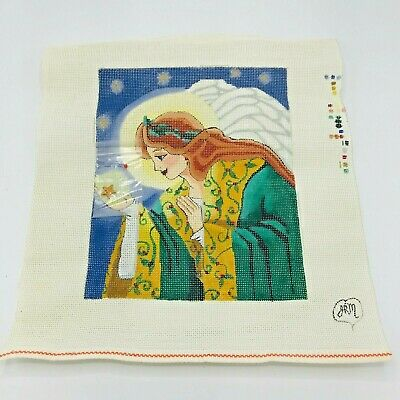 Hand Painted Needlepoint Pattern Christmas Angel Star Cloak Sky Halo Crown