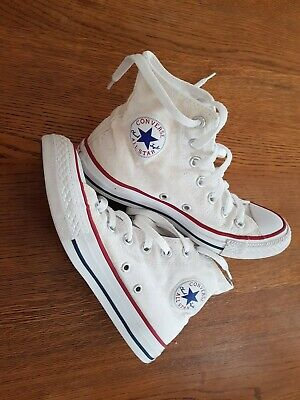 Ladies Girls White Converse Chuck Taylor All Star Trainers Hi Tops Size 4 36