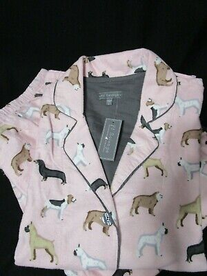 P.j Salvage 100% Cotton Flannel Pajama Dogs Theme Pink  Msrp $68 Nwt Large