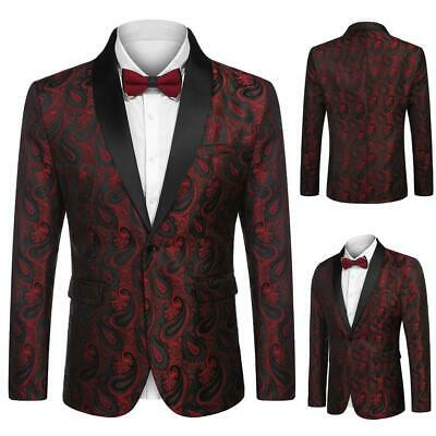 Men Fashion Turn Down Collar Long Sleeve Floral Pocket Blazer W2YN 01