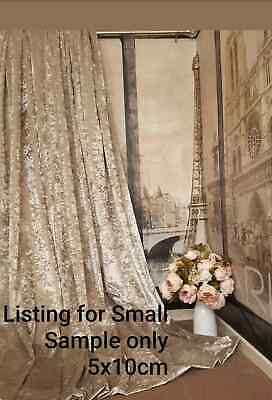Fabric Swatch Only Made to Order Crushed Velvet Champagne Gold  Lined Curtains
