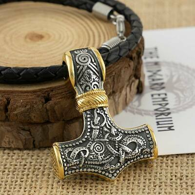 Viking Necklace Thors Hammer With Gold Trim Stainless Steel Pendant