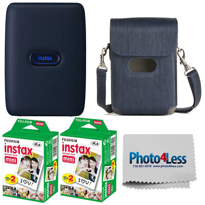 Fujifilm Instax Mini Link Smartphone Printer Dark Denim | 40 Exposures | Case