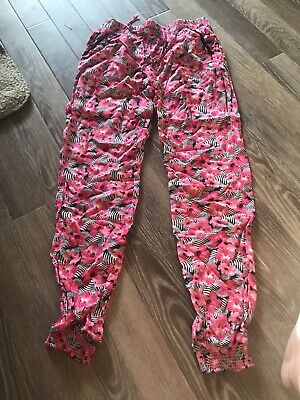Girls Floral Trousers With Elastic Bottoms Size 11-12 Yrs NEW