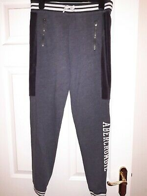 Abercrombie and Fitch Girls Tracksuit Bottoms Sweatpants Grey, Age 13-14 years