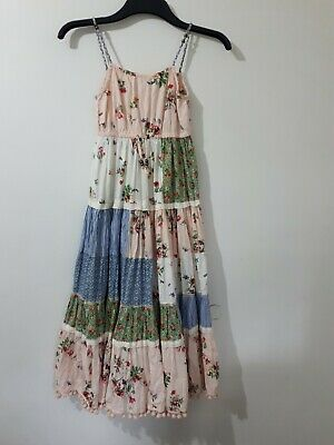 Next Girls Summer Maxi Dress Age 10 11 Years Floral Cotton Lined Boho Gypsy