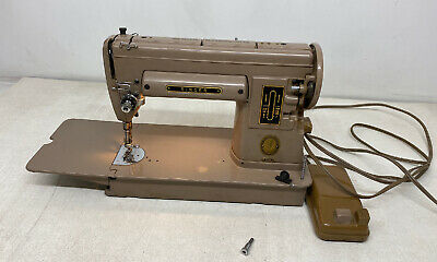 Singer Sewing Machine 301A Vintage Mocha Brown Portable Long Bed