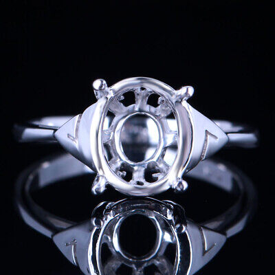 Fashion Simple Style Fine Semi Mount Oval 9x7mm Setting Ring Sterling Silver 925