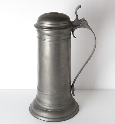 """large 18th Century German Pewter Tankard. Three touch marks on base """"Wunsiedel,"""