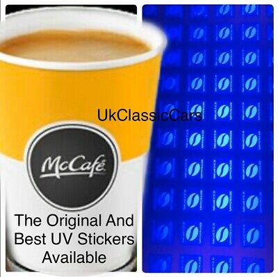 600 Ultraviolet UV Coffee Hot Drink Loyalty Stickers From Golden Arches 110 Cups