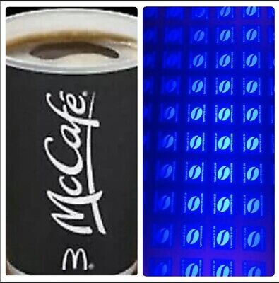 240  Ultraviolet UV Mc Donald Coffee Hot Drink Loyalty Stickers 46 Cups