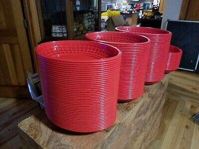 "Lot of 40 New Tablecraft Serving Basket 11-3/4 ""Wx8-7/8 ""Dx1-7/8""H, Oval, Red"