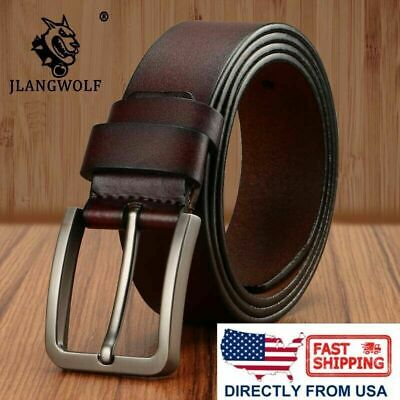 Men's Classic Metal Buckle Handcrafted Genuine Leather Jean Belt