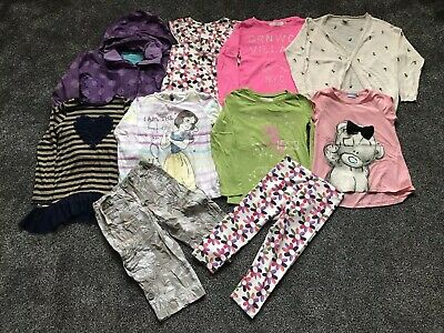 Assorted Bundle Of 10 Girls Clothes Tops Trousers Dress Coat Age 5-6 Years
