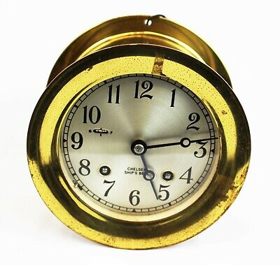 """Vintage Chelsea Ship's Bell Clock 4 1/2"""" Dial Brass NO RESERVE"""
