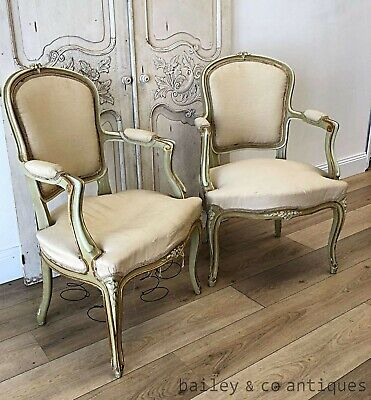 Pair Antique French Louis Style Armchairs Original Paint - Re-Upholster - P350