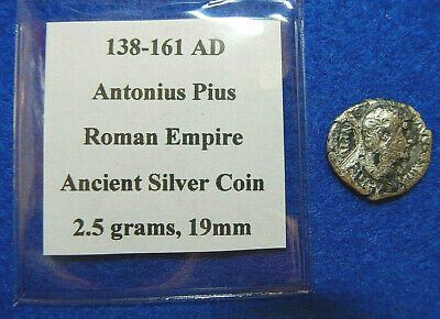 138-161 AD Antonius Pius Roman Empire Ancient Silver Coin, 2.5 grams, 19mm