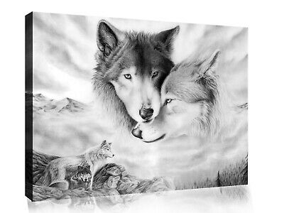 Black & White Arctic Wolves Wolf Canvas Wall Art Picture Print- ALL SIZES