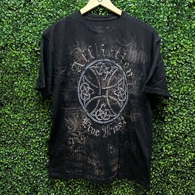 Men's Affliction Live Fast DISTRESSED Graphic T-Shirt Black Sz XL Skulls Reapers