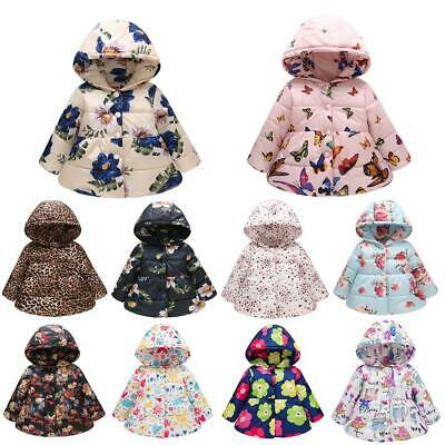 Girls Down Jackets Kids Printed Cotton Outerwear Winter Clothes Hooded Coat #gib