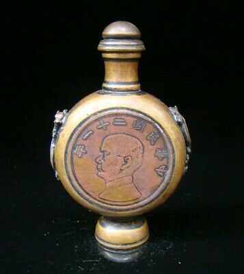 Collectible Handmade Carving Statue Copper Brass Snuff Bottles people Figures