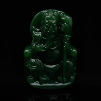 Chinese Antique Collection Hand-carved Guan Yu pattern Old green jade Pendant
