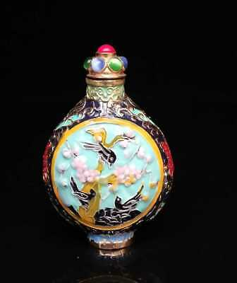 Collectible Chinese Handmade Copper Cloisonne Snuff Bottles Exquisite Horse