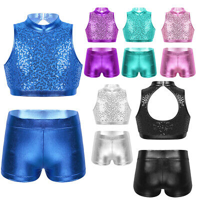 Girls Sports Dance Outfits Crop Top+Shorts Set Kids Gym Lace Sparking Dancewear
