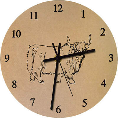 275mm 'Highland Cow' Large Wooden Clock (CK00016234)