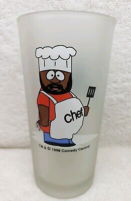 CHEF- SOUTH PARK 1998 HIGHBALL FROSTED COLLECTIBLE GLASS 90s