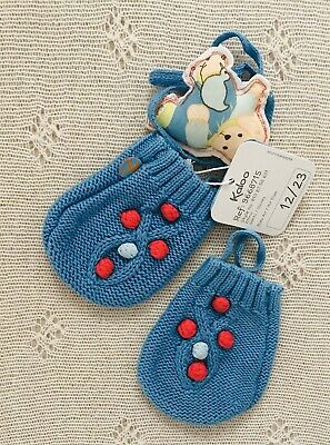Kaloo Girls Blue Knitted Mittens With Pom Poms. 12-23 Months. Never Worn.