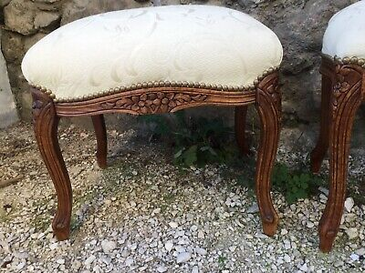 LOUIS XV FRENCH PROVINCIAL STOOL Padded Wooden Carved Floral Ivory Mint