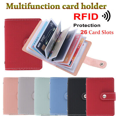 Men Pocket Bag Candy Color RFID Blocking Wallet PU Leather Credit Card Holder