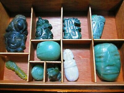 Lot Of 9 100% Precolumbian Maya And Olmeca Jade Pieces