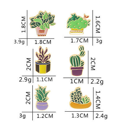Lovely Cactus Brooches Plants Enamel Lapel Pin Badges Brooch SW