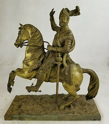 Antique French 19th Century Bronze Horse Soldier Calvalry Medieval
