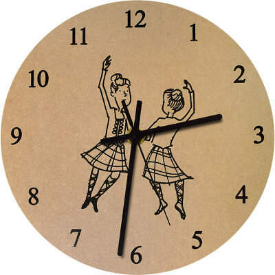 275mm 'Highland Dancers' Large Wooden Clock (CK00011799)