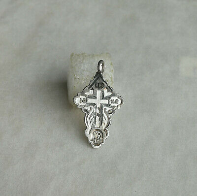 "ANTIQUE c.1880-1890s IMPERIAL RUSSIAN SILVER ""84"" ORTHODOX ""OLD BELIEVERS"" CROSS"