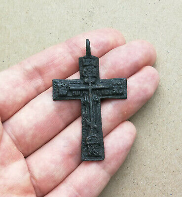 "ANTIQUE 18-19th CENTURY ""OLD BELIEVERS"" ORTHODOX CROSS with PSALM 68 ""EXORCISM"""