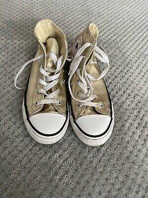 CONVERSE ALL STAR HIGH TOP GOLD BOOTS SIZE 1 Very Good Condition